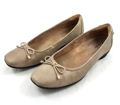 Clarks Artisan Taupe Brown Ballet Flats Comfort Shoes Bow Accent Womens 6 M - $29.53
