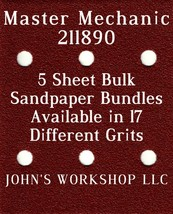 Master Mechanic 211890 - 1/4 Sheet - 17 Grits - No-Slip - 5 Sandpaper Bulk Bdls - $7.14