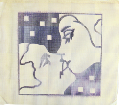 1970's Hand Painted Needlepoint Black & White First Kiss Silhouette 7CT  - $28.35