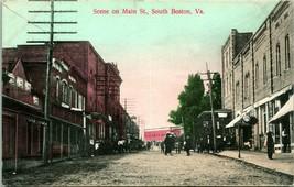 Vtg Carte Postale 1909 Scène Sur Principal St. South Boston VA - Dirt St... - $54.81