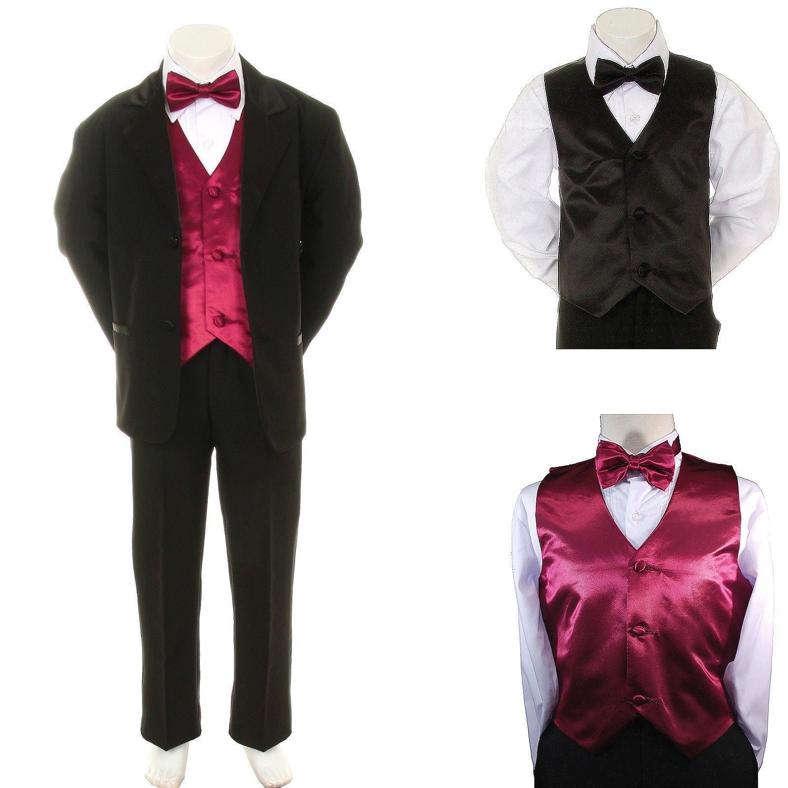 5pc Khaki Baby Toddler Teen Boys Wedding Formal Vest Necktie Tuxedo Suits S-20