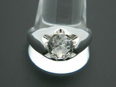Primary image for UNCAS 18k HGE Clear Goshenite Solitaire Silver Tone Ring 12.75 Vintage