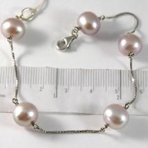 Bracelet White Gold 750 18K Pearls Purple Lavender Diameter 9-10 mm Chain Veneta image 1