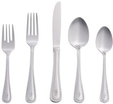 Set 10 Letter J 46 Piece Silver Stainless Steel Flatware Set Beaded Mono... - $62.01
