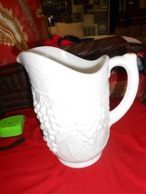 "Magnificent Milk Glass PITCHER ""Grapes"" Design  9"" height  5"" diameter - $10.80"