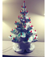 "Vintage Ceramic Christmas Tree White Red Lights 16"" tall  Table Top Musi... - $147.51"