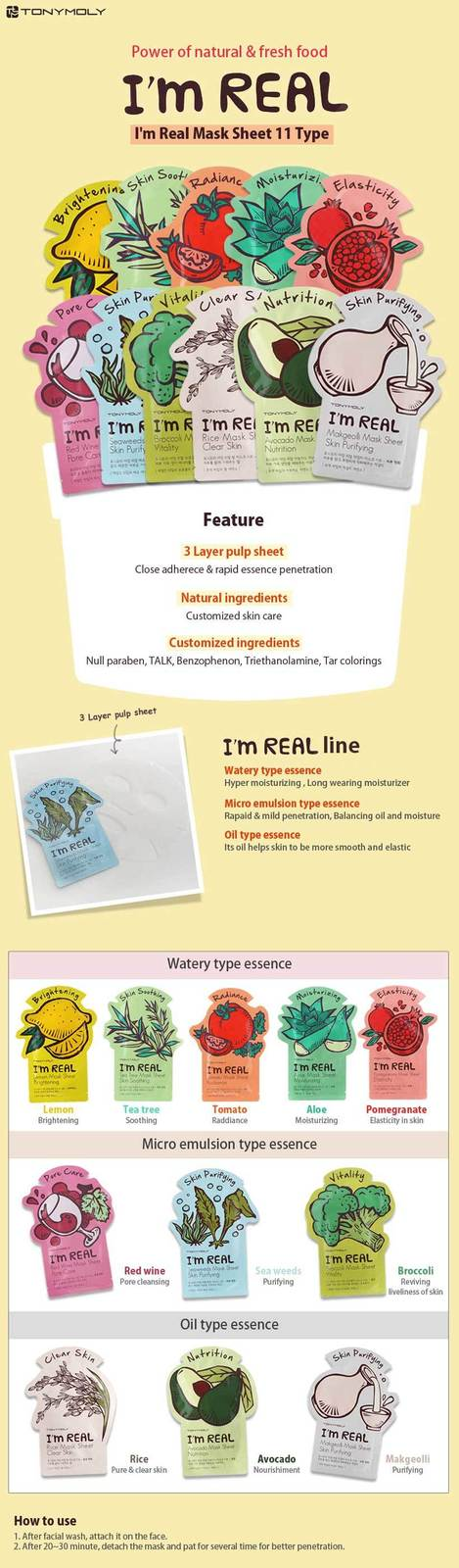 TONYMOLY TONYMOLY I AM REAL Face Mask Sheet Pack / TOMATO 10Sheets SET / Radianc