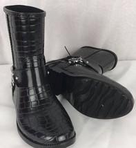 Michael Kors Croco embossed black rubber rain boots size 6M - $46.43