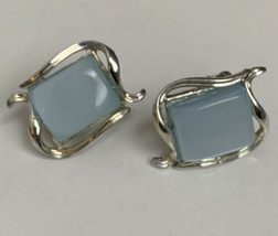 Vintage Coro Thermoset Frosty Blue Wave Rectanglular Earrings Clip Silve... - $11.87