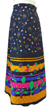 Vintage 60s Long Quilted Skirt Vali Boutique Designs Black w Bright Desi... - $53.87