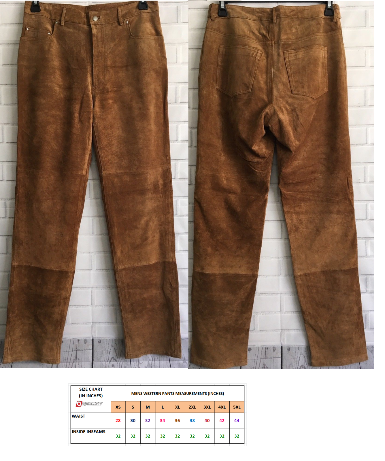 Men's New Western Brown Goat Suede Leather Cowboy Pant WP29