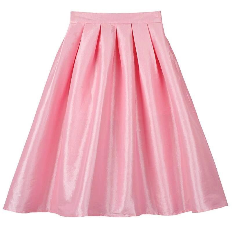 Women Pink Full Pleated Party Skirt A Line High Waist Knee Length Taffeta Skirt