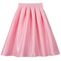 Women Pink Full Pleated Party Skirt A Line High Waist Knee Length Taffeta Skirt  image 1