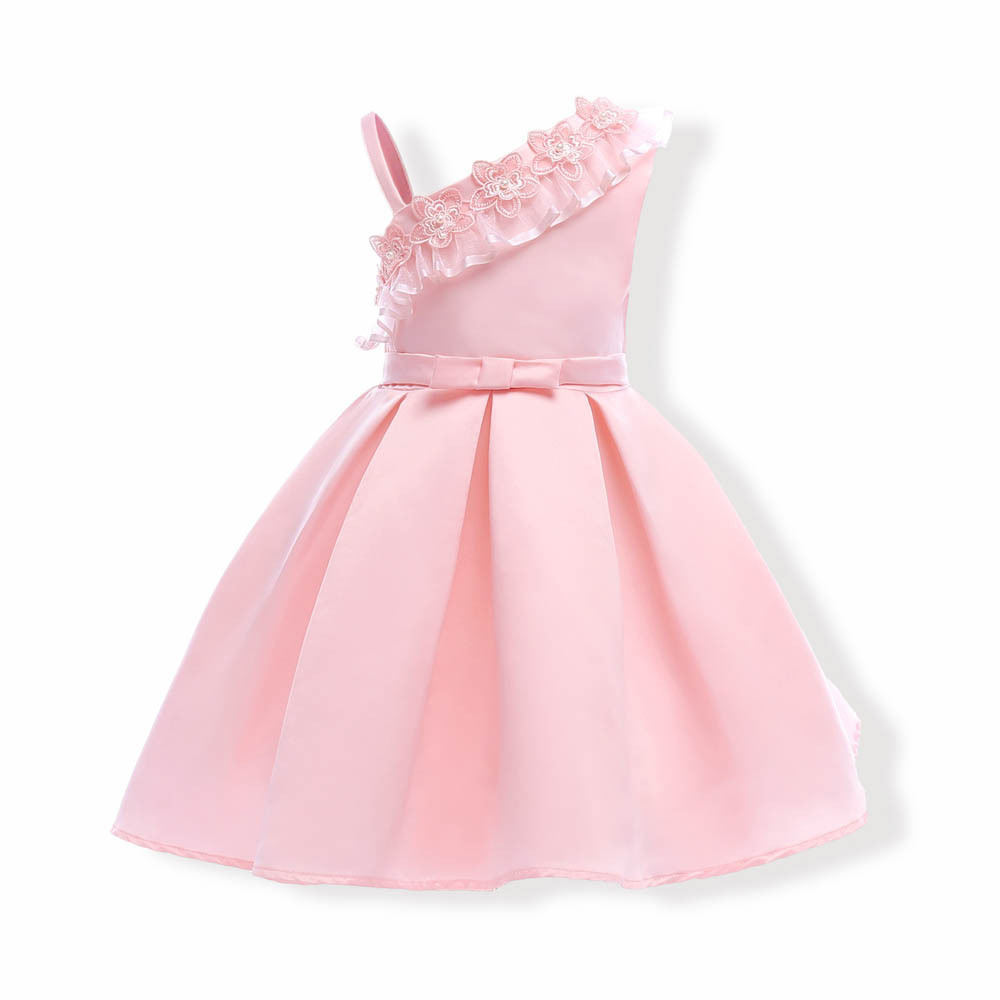 Sample One Shoulder Pink Satin Girls Party Gowns Sexy Mini Flower Girls Dresses