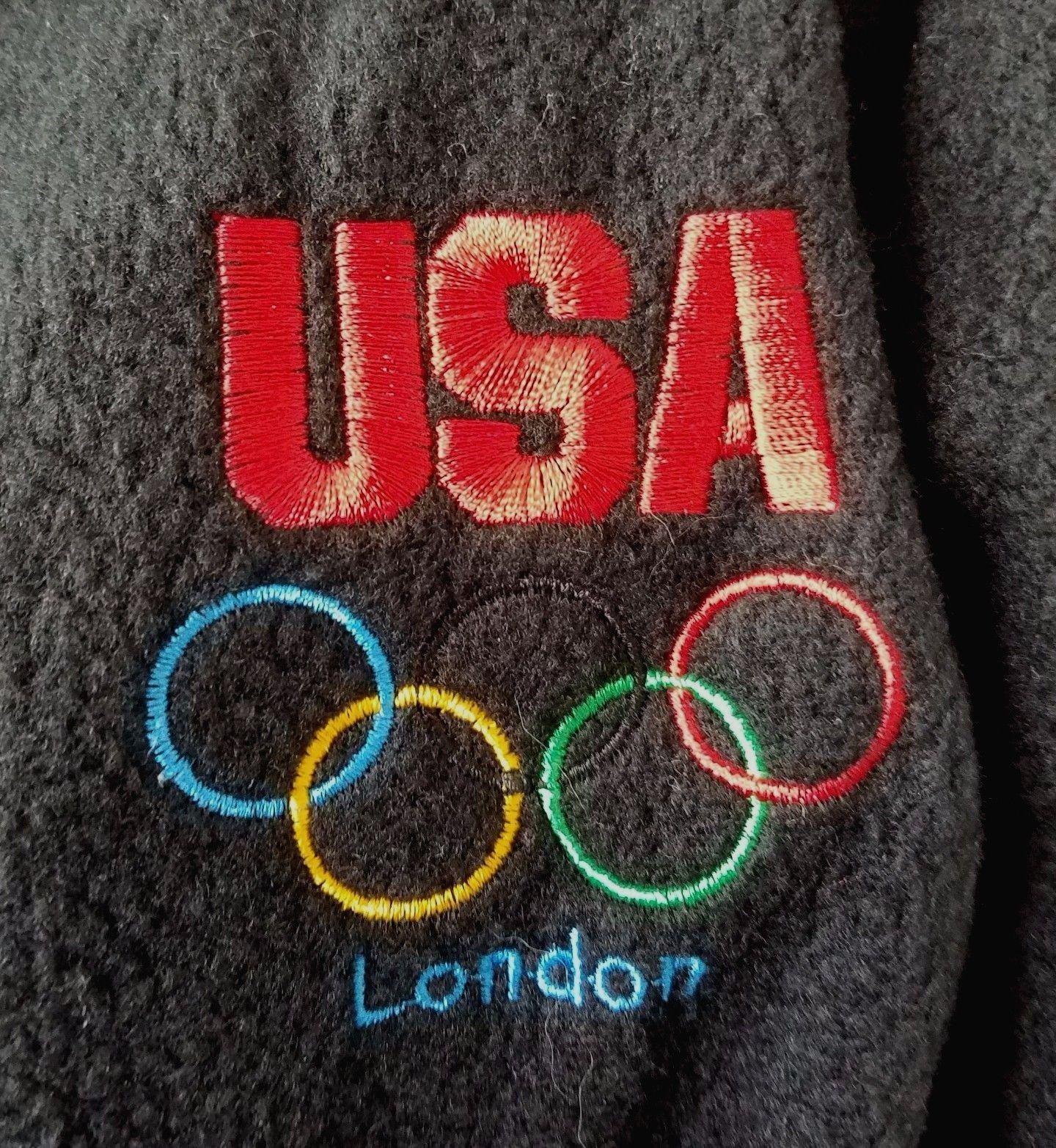 Navy Blue Fleece USA Olympic Committee Jacket London Size L