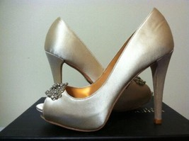 Badgley Mischka Goodie Vanilla Satin Women's Dressy Evening Heels Pumps ... - $67.71
