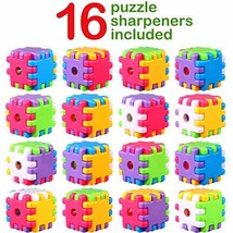 16 Pieces Plastic Manual Pencil Sharpeners Stationery Puzzle Cube Hand Pencil Sh