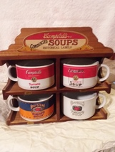 Campbell soup mug set with rack - $35.00