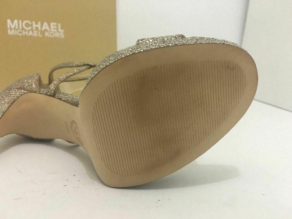 Michael Kors Simone Women Evening Platform High Heels Sandals 6.5 Silver Glitter image 10