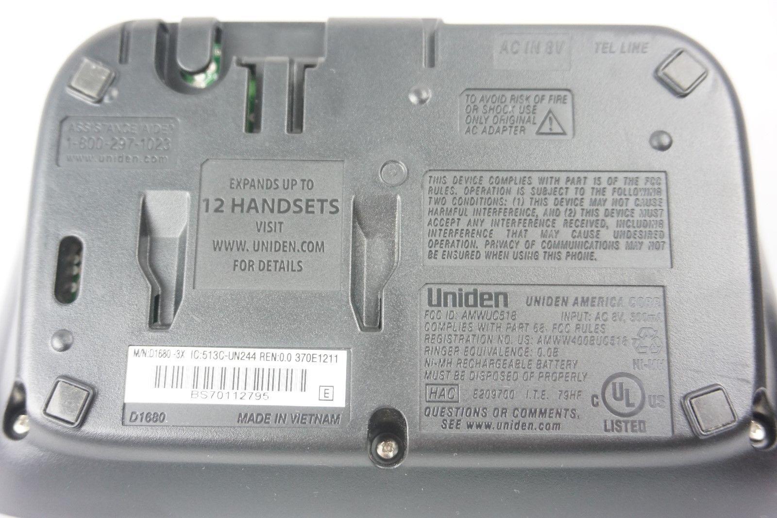 Uniden D1680-3 DECT 6.0 Cordless Phone Answering System 3 Handsets Expandable image 5