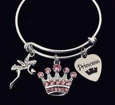 Pink Crown Princess Gift for Girls Expandable Charm Bracelet Kids Size Adjustabl - $28.99