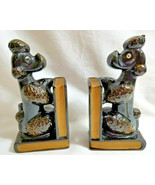 Poodle Dogs Vintage Japan Terracotta Black Bookends Figurines 1960's - $29.95