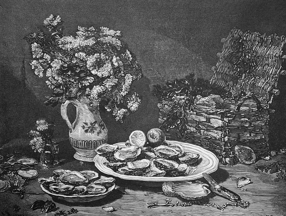 STILL-LIFE with Oysters Shells Vase Flowers & Basket - 1876 Engraving Print