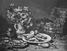 STILL-LIFE with Oysters Shells Vase Flowers & Basket - 1876 Engraving Print - $21.60