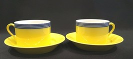Fitz & Floyd In Glaze Blue Circa Yellow Blue Striped Flat Cup & Saucer Set of 2 - $24.99