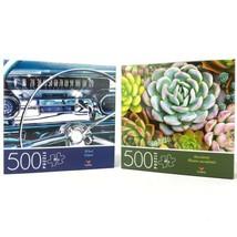 Lot of 2 Cardinal 500 Piece Jigsaw Puzzles - Succulents & Wheel Car Dash - $19.54