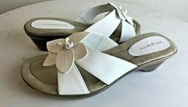 NIB Easy Spirit Women's Esgetreal White Flower Slide Sandals, Size 7 1/2 M US - $39.59
