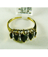 10k yellow gold 1 CTW Midnight Sapphire Marquise Cut Ring Band Sz 6.5 NWT - $133.80