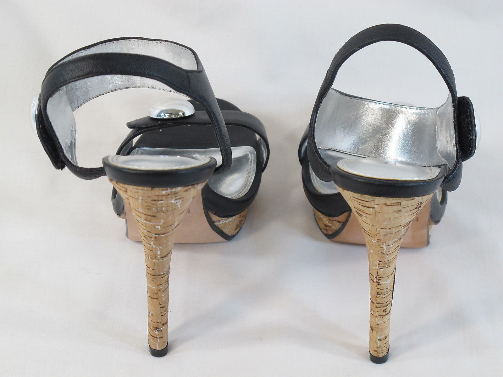 95065b924469 Bebe Black Leather Platform Open Toe Ankle Strap Heels Size 9 M US Near Mint