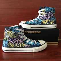 Forest Style Design Leopard Leaf Hand Painted Canvas Shoes Converse All Star - $159.00