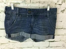 Old Navy Diva Women's Sz 4 Jean Shorts Blue Denim Cuffed Stretch Mini - $12.76