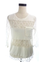 Womens Belldini M Top Ivory White Lace Long Sleeve Shirt - $23.21
