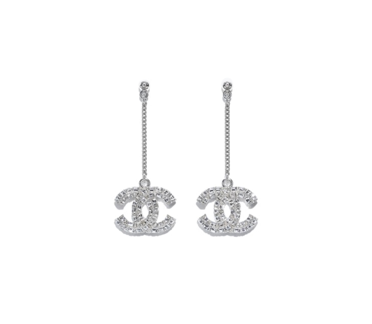 Authentic Chanel RARE Large CRYSTAL CC Logo Dangle Drop Long Silver Earrings NEW