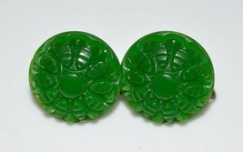 Vintage Intricate Carved Green Celluloid Floral Flower Screw Earrings - $29.70