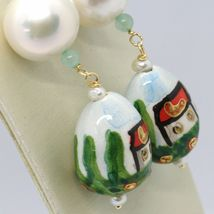 Yellow Gold Earrings 750 18K Pearls Fw and Drop Hand Painted image 4