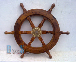 "12"" NAUTICAL SHIP WHEEL, BOAT TEAK WOOD SHIP WHEEL WITH BRASS HUB - $23.01"