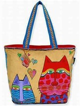 "NWT Laurel Burch Large Tan Kindred Spirits Cats Tote  20""x 15"" New SHIP ... - $45.85"
