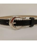 """Medium 34"""" Black Designer Macy's Steve Madden Skinny Belt shot bead - $11.30"""