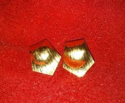 Vintage Napier signed gold tone large screw back/clip on earrings unique design - $12.99
