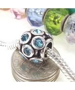 Aqua Blue Round Crystal March Birthstone Bead Spacer for European Charm ... - $4.95