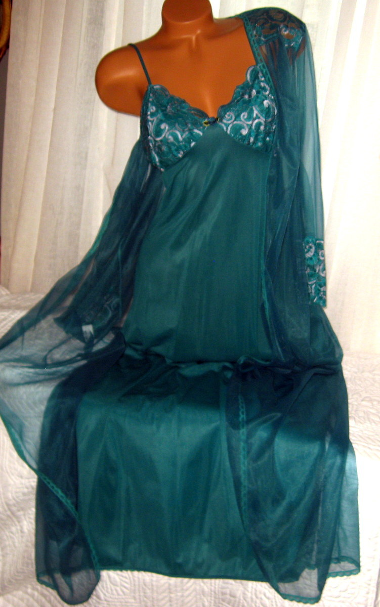 Cross Dyed Lace Long Nightgown Robe Set M Hunter Green 2 Piece