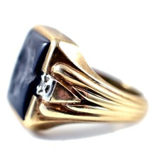 Royal 10k Solid Yellow Gold Hematite Roman Bust with Diamond Accents Ring 10.5 image 2