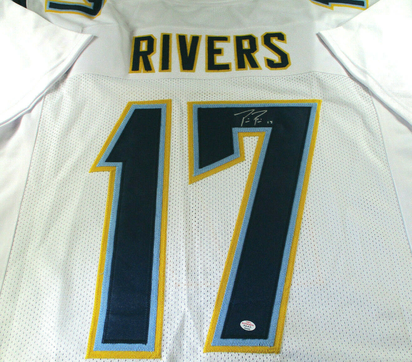 PHILIP RIVERS / AUTOGRAPHED LOS ANGELES CHARGERS CUSTOM FOOTBALL JERSEY / COA