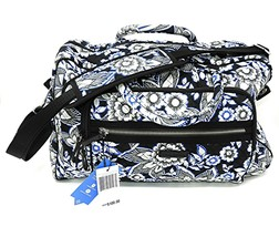 Vera Bradley Compact Weekender Travel Bag Snow Lotus Trolly & Charger Po... - $67.72