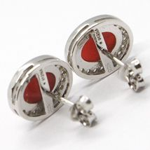 Boucles D'Oreilles 925, Ovale Zirconia, Corail Rouge Cabochon, Made In Italy image 3