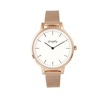 Simplify The 5800 Mesh Bracelet Watch - Rose Gold/White - $170.00